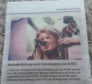 Nathalie Schaap in de Stentor, winnares vriendenprijs 2018 ArtEZ